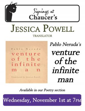 Chaucer's Books Neruda Translation Event poster, event Nov. 1, 2017 at 7 PM
